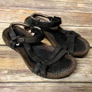 TEVA Black Leather Ventura Cork Strappy Sandals
